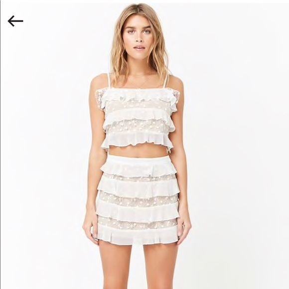 ff4dfb566d3 Forever 21 Embroidered mesh skirt and crop set. M_5b6ca48010fc54d8555da658